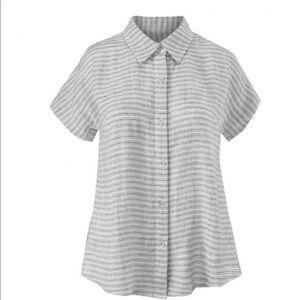 Cabi Striped Linen Short Sleeved Blouse Large 5257